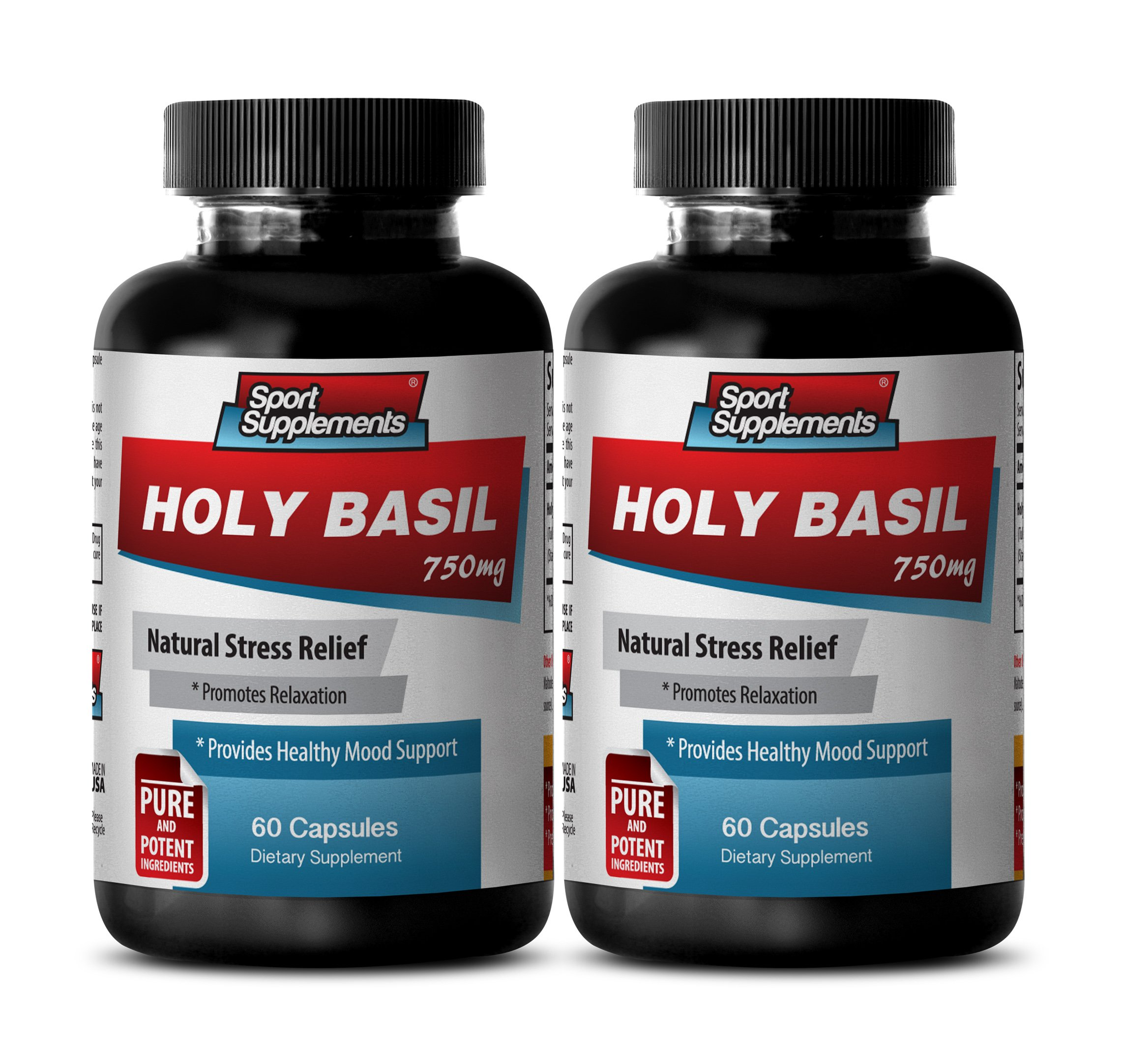 Antioxidant and immunity - HOLY BASIL EXTRACT 750Mg For Natural Stress Relief - Holy basil force new chapter - 2 Bottles 120 Capsules