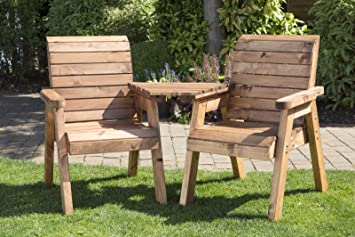 ukg heavy duty love seat wooden 2 seater garden bench triangular table fully assembled uk made