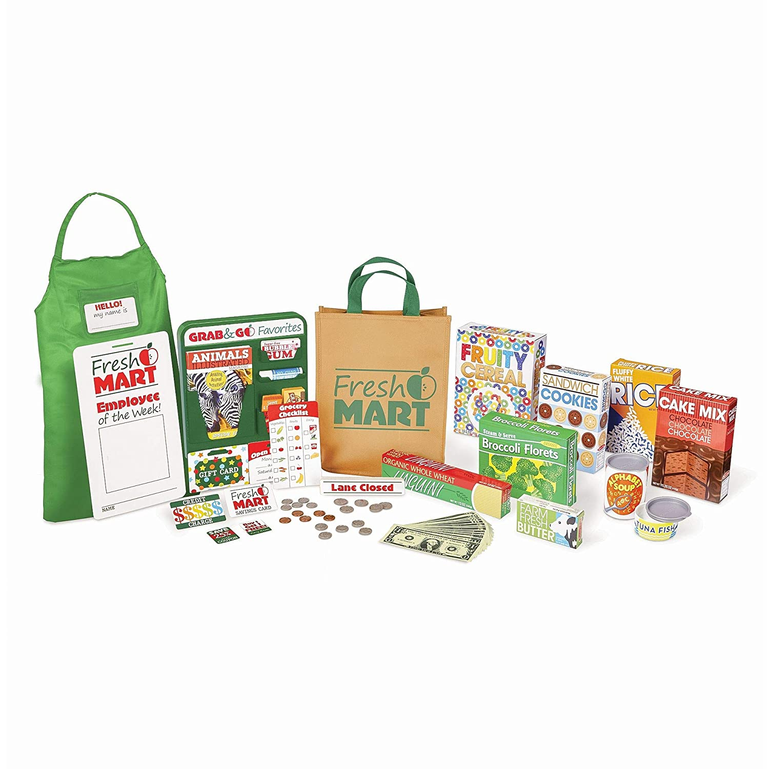 "Melissa & Doug Fresh Mart Grocery Store Companion Collection, Play Sets & Kitchens, Multiple Role Play Items, Helps Develop Social Skills, 10"" H x 3.5"" W x 13.75"" L"