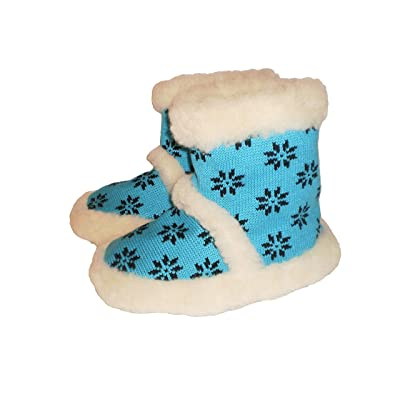 'Marited' 100% Healthy Wool Slippers Boots All Sizes Women Men Antislip Sole /Turquoise /