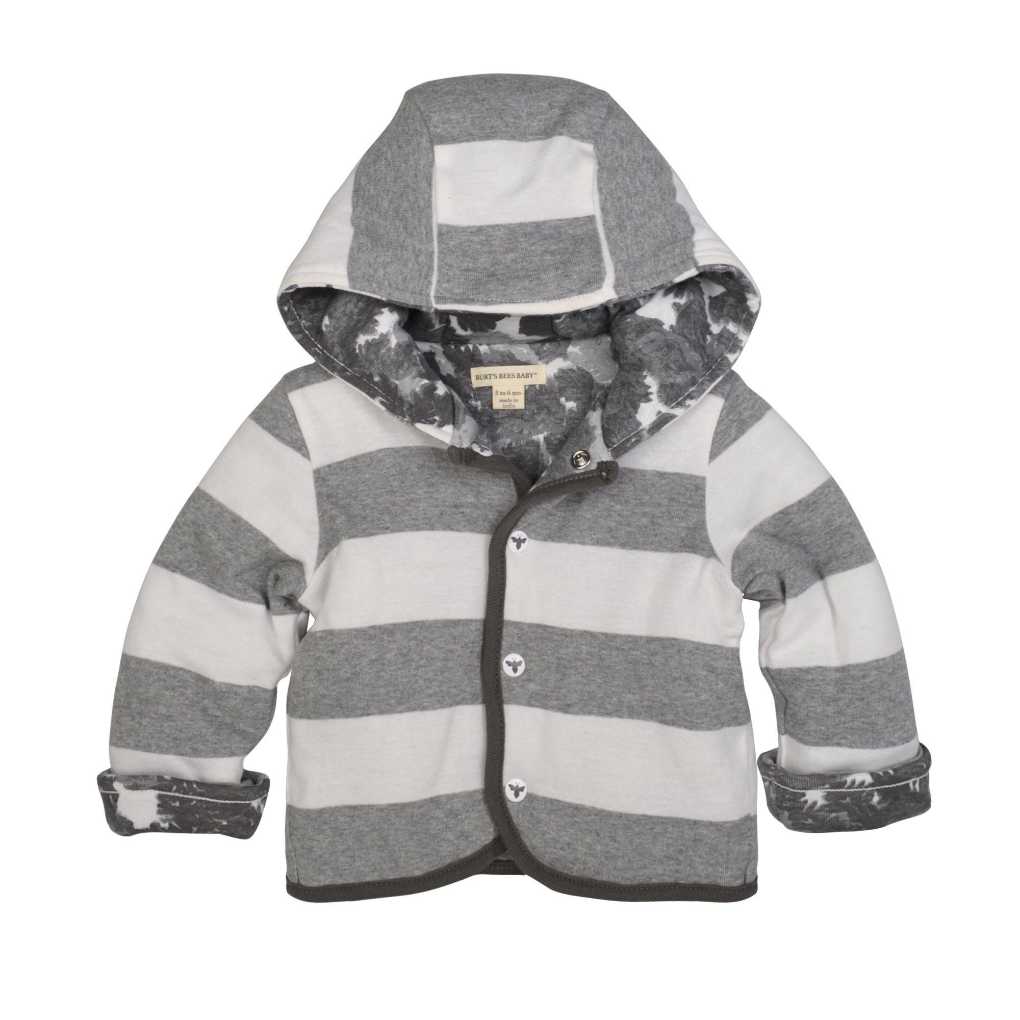 Burt's Bees Baby Baby Organic Snap Front Reversible Jacket, Heather Grey Canopy, 3-6 Months by Burt's Bees Baby