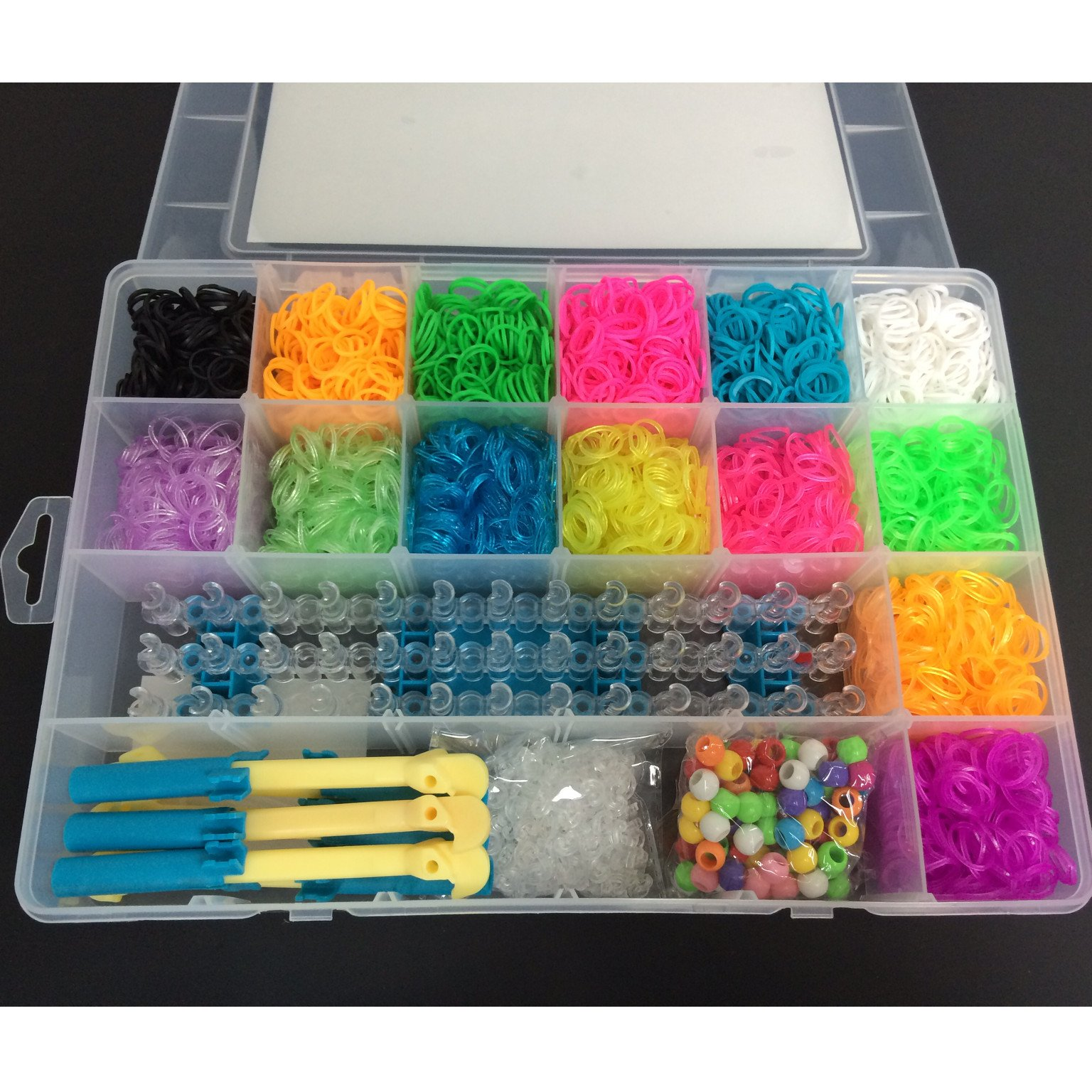 Loopy Loom 6000 Bands Delux Box Set Rubber Bracelet Making Kit with 100 Charms