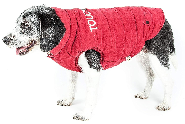 TOUCHDOG 'Waggin Swag' Fashion Designer Reversible 3M Insulated Pet Dog Coat Jacket, Large, Pink White