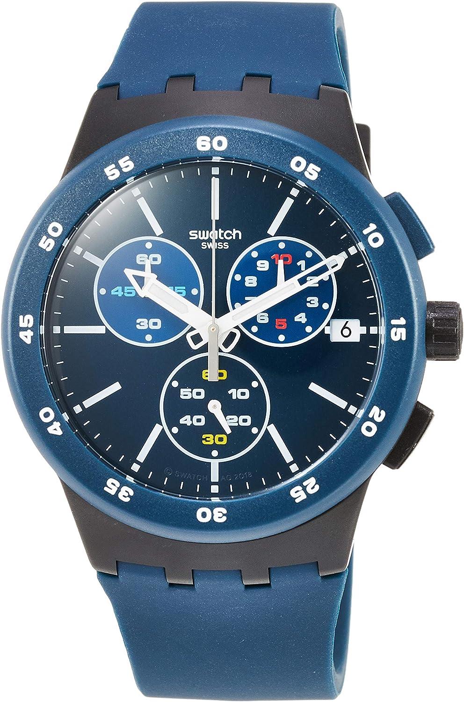 Swatch Reloj Cronógrafo para Unisex Adultos de Cuarzo con Correa en Silicona SUSB417