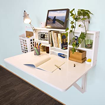 SoBuy FWT07 W, Folding Wooden Wall Mounted Drop Leaf Table Desk Integrated
