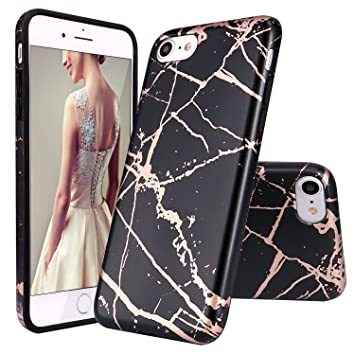 buy popular e0bfa 4b655 DOUJIAZ iPhone 6 Case,iPhone 6S Case, Black Rose Gold Marble Design Clear  Bumper TPU Soft Case Rubber Silicone Skin Cover for Normal 4.7 inches  iPhone ...