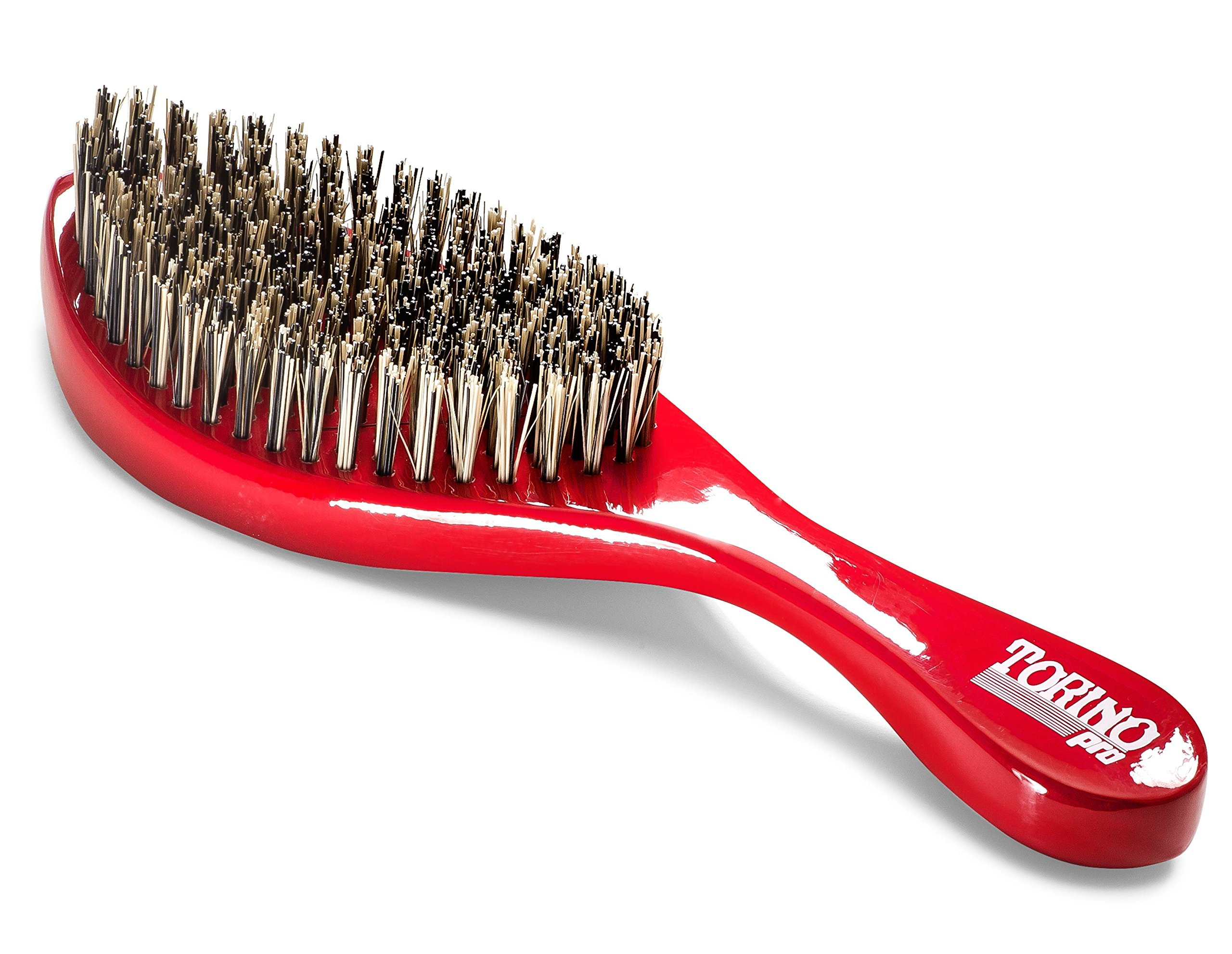 Torino Pro Wave Brush #470 by Brush King - Extra Hard Curve Wave Brush with Reinforced Boar & Nylon Bristles - Great for Wolfing - Curved 360 Waves Brush by Torino Pro (Image #2)