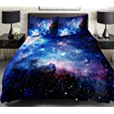 Galaxy Quilt Cover Galaxy Duvet Cover Galaxy Sheet Space Sheet Outer Space Bedding Set Bedspread cover with 2 Matching Pillow Covers(Queen)
