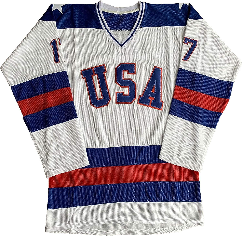 1980 Olympic Team USA Hockey 17 Jack OCallahan 21 Mike Eruzione 30 Jim Craig Miracle On Ice Hockey Jersey White Blue