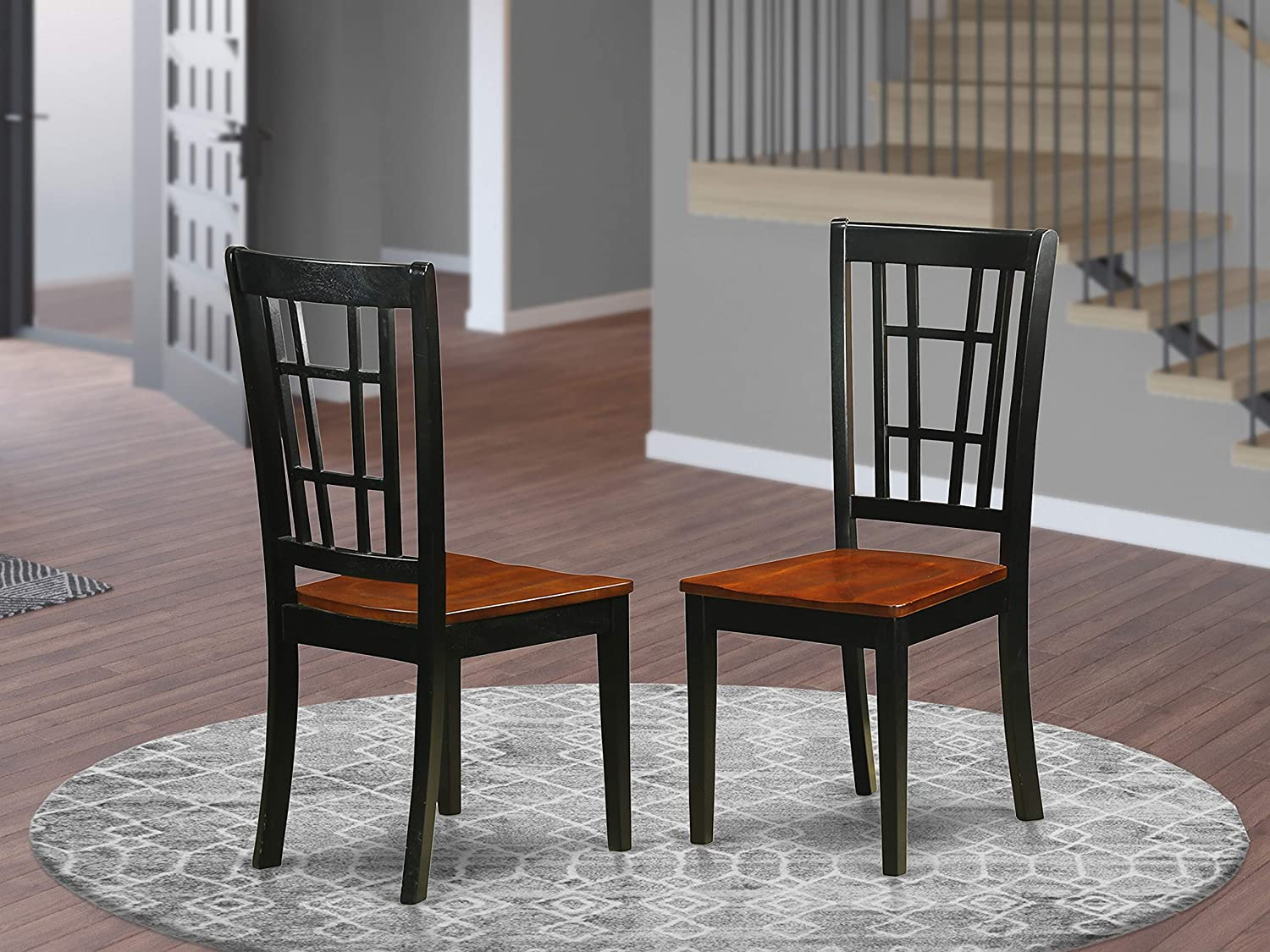 Nicoli Dining Chair with Wood Seat in Black Cherry finish