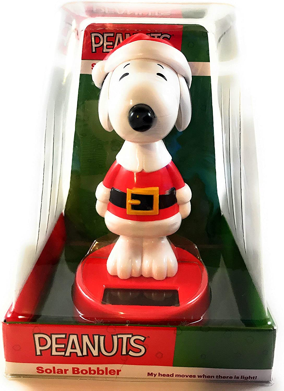 Peanuts Santa Snoopy Solar Bobbler