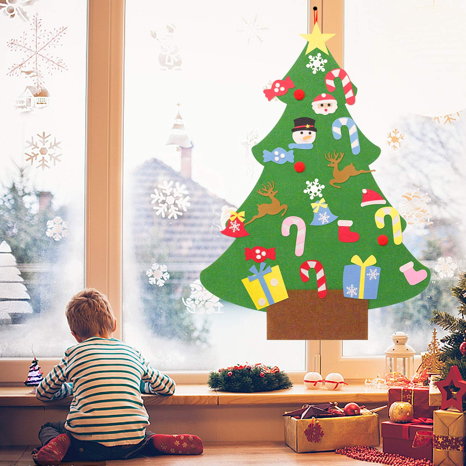 COSSCCI DIY Felt Christmas Tree for Kids Toddlers,40.5 Inches Christmas Tree with 25pcs Ornaments,Xmas Gifts, New Year Door Wall Hanging Decorations (3.3ft)