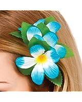 Hawaiian Sky Blue Flower Hair Clip Fancy Dress Accessory Luau Summer Beach Party