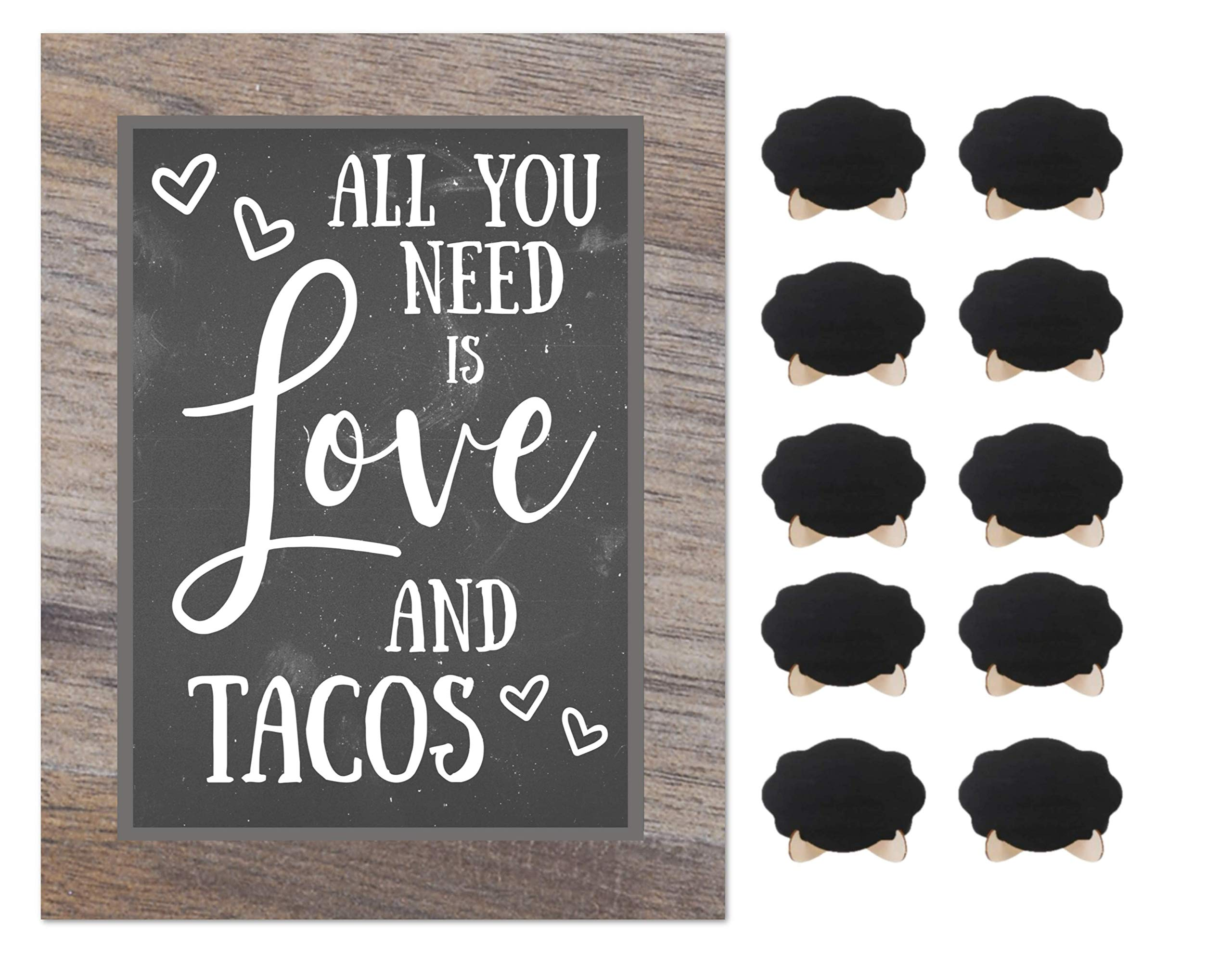 Taco Bar Party Rustic Chalkboard Sign Wedding Shower Buffet Supplies with 10 Small Mini Chalkboards Accessories
