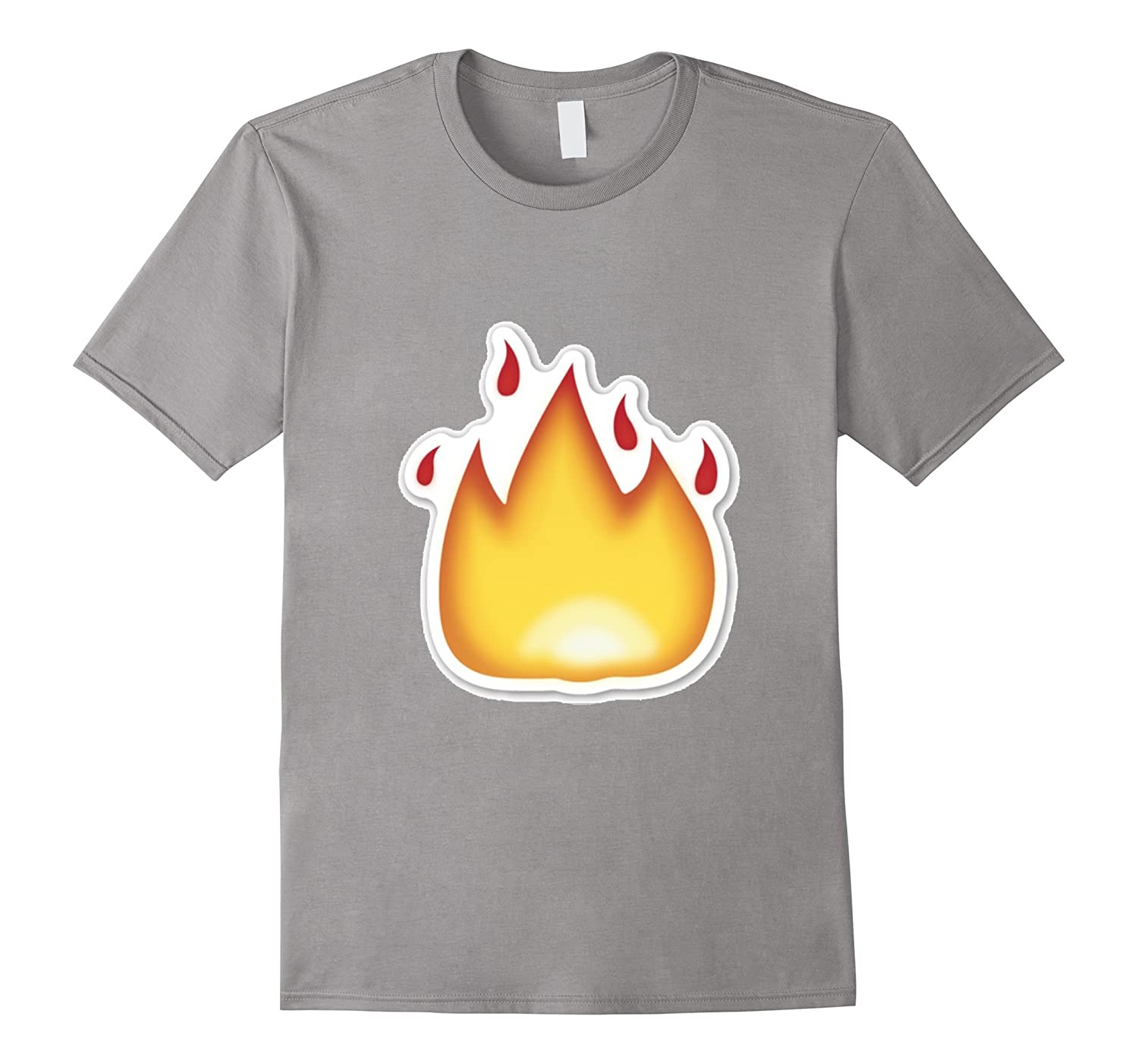 Fire Emoticon T-Shirt It's Lit Burning Hot Flame Flaming-FL
