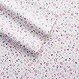Full Flannel Sheet Set - 100% Cotton Deep Pocket Heavyweight Flannel Sheets - Floral Print