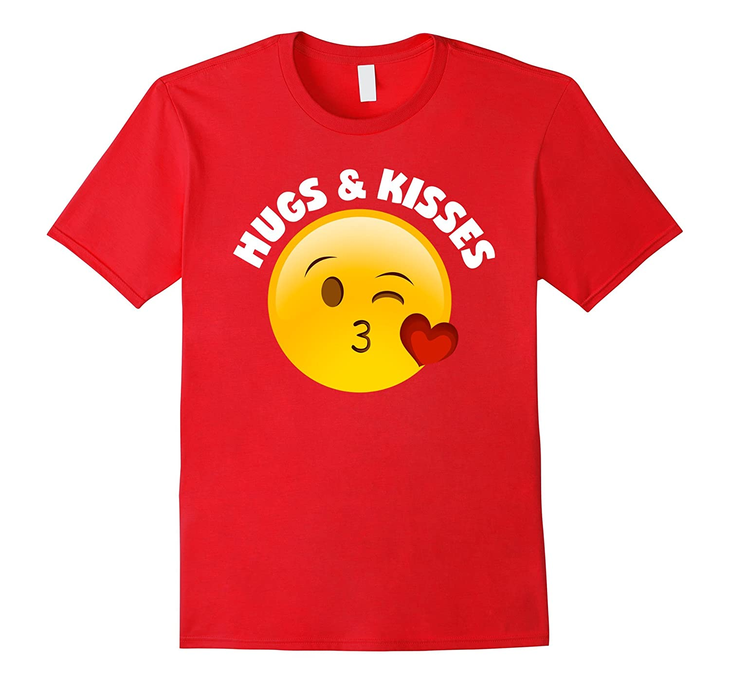 Emoji Valentine's Day Shirt Hugs And Kisses Heart Kiss-CL
