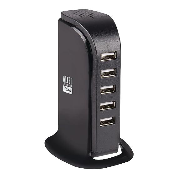 Altec Lansing 5-Port USB Hub Station Rapid Charger for iPhone & Samsung (Black)