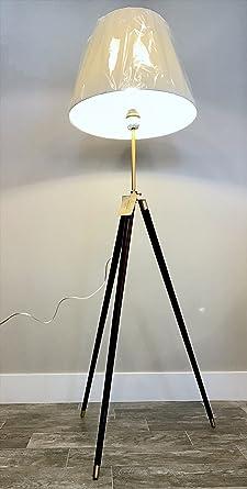Ralph Lauren Adjustable Wooden Surveyors Tripod Floor L& with Brass Accents & Ralph Lauren Adjustable Wooden Surveyors Tripod Floor Lamp with ...