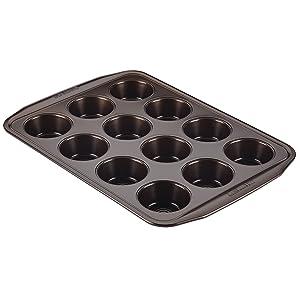 Circulon Nonstick Bakeware 12-Cup Muffin Pan, Chocolate Brown