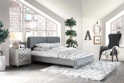 Esofastore New Contemporary Bedroom Furniture Queen Size Bed Padded Linen  Like Fabric Pillow Top Headboard Solid