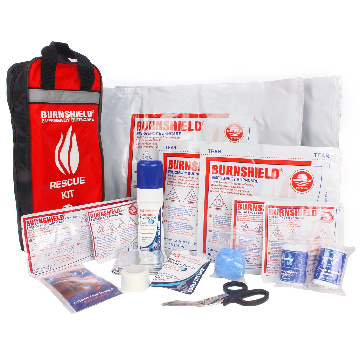 Burnshield Emergency Burn Kit & Nylon Bag with Bandages, Scissor, and Tape
