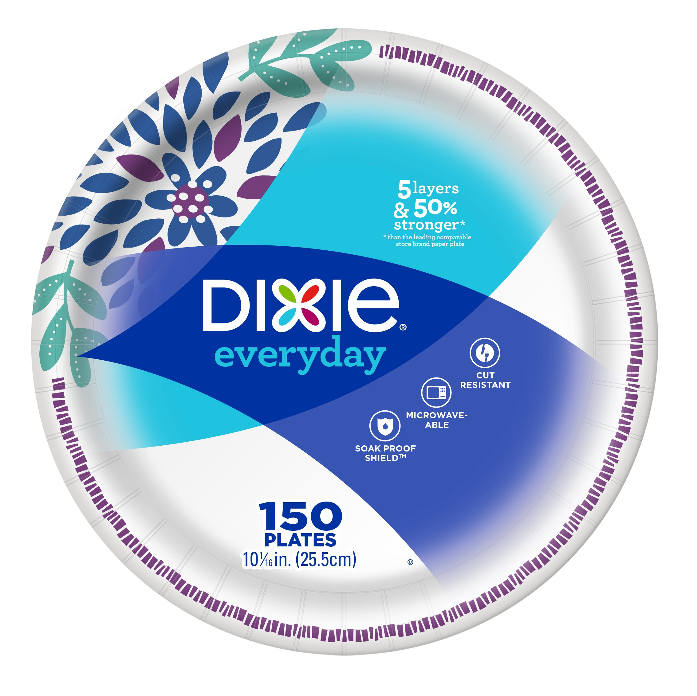 Dixie Everyday Paper Plates, 10 1/16'', 150 Count, Dinner Size Printed Disposable Plates