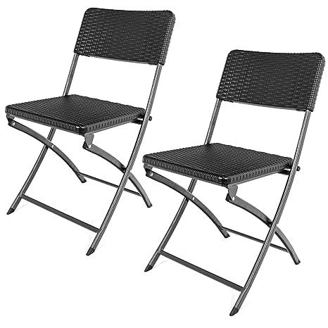 SAPPHIRE Juego de 2 sillas Plegables jardín - Silla apilable ...