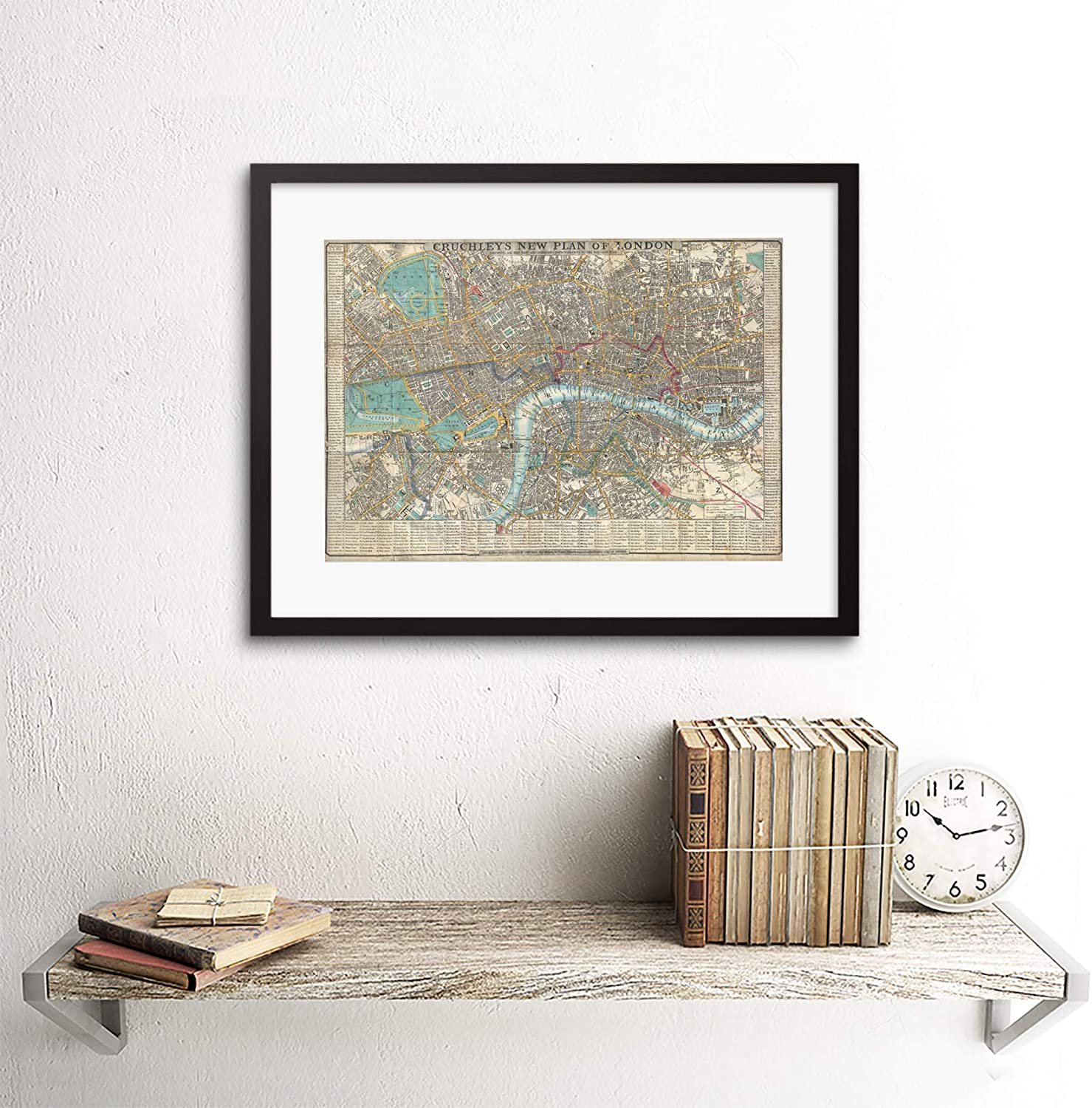 MAP ILLUSTRATED ANTIQUE CRUTCHLEY LONDON Canvas art Prints