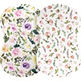 Pobibaby - 2 Pack Premium Bassinet Sheets for Standard Bassinets - Ultra-Soft Cotton Blend, Stylish Floral Pattern, Safe and