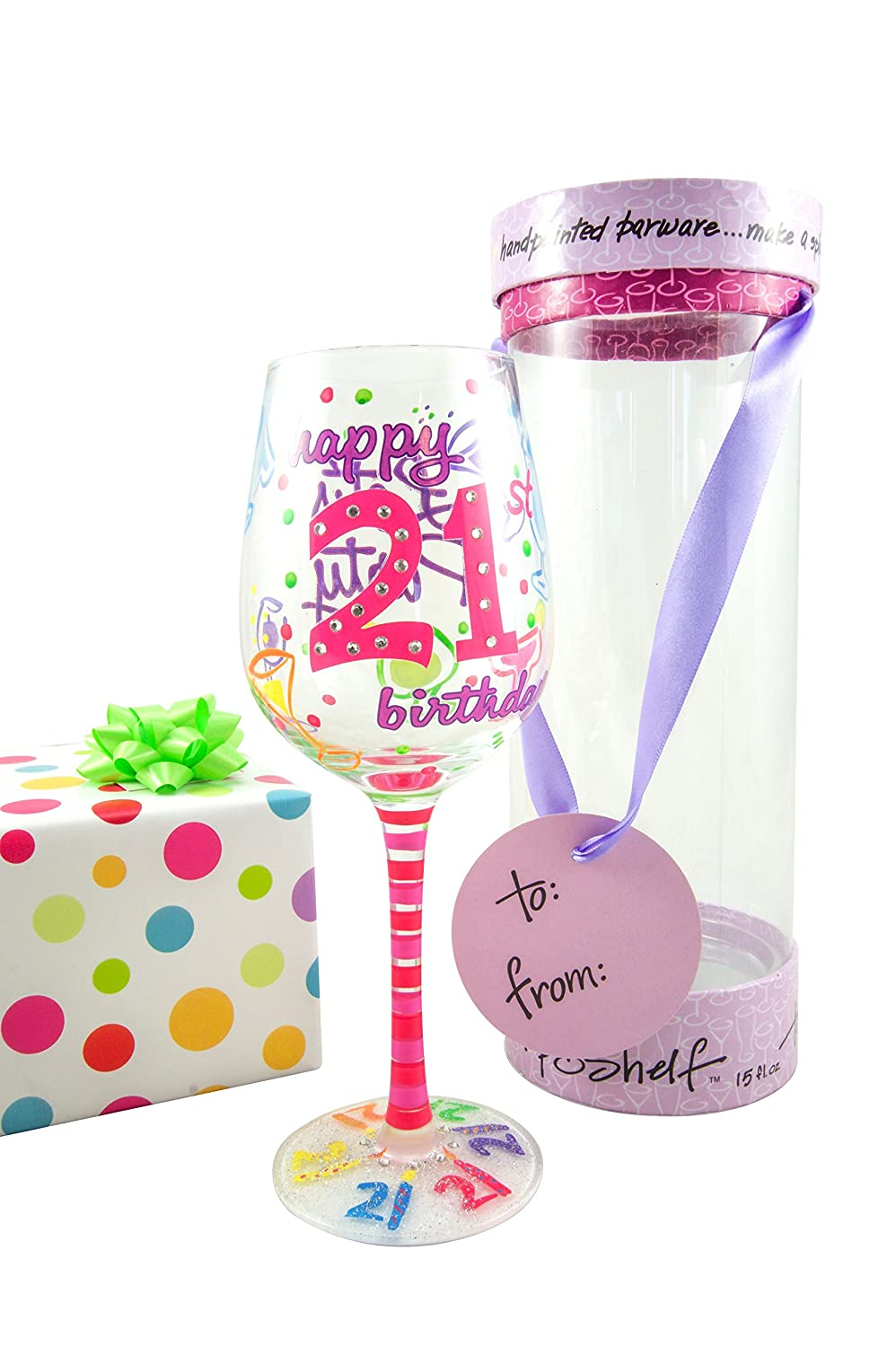 Amazon.com | Top Shelf 21st Birthday Wine Glass - Hand Painted ...