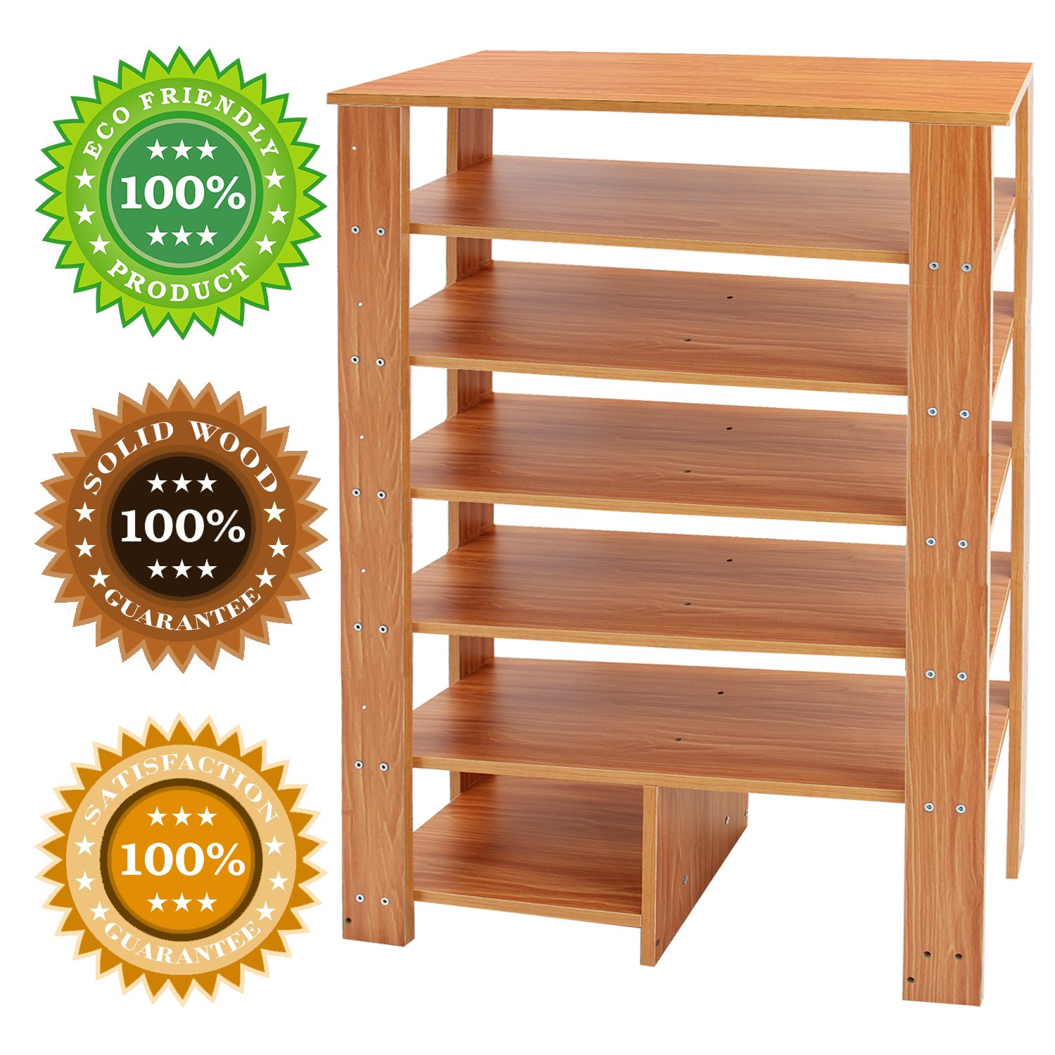 Jerry & Maggie - 6 Tier Wood MDF Solid Shelf Shoe Rack with One Footstool/Shoe Storage Shelves Free Standing Flat Shoe Racks Classic Style -100% Multi Function Shelf Organizer - Natural Wood Tone by Jerry & Maggie (Image #4)