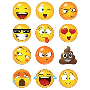 12 Large Emoji Faces Wall Graphic Decal Sticker #6052-6x6 (6 Inches in Size). Reusable Emojis.