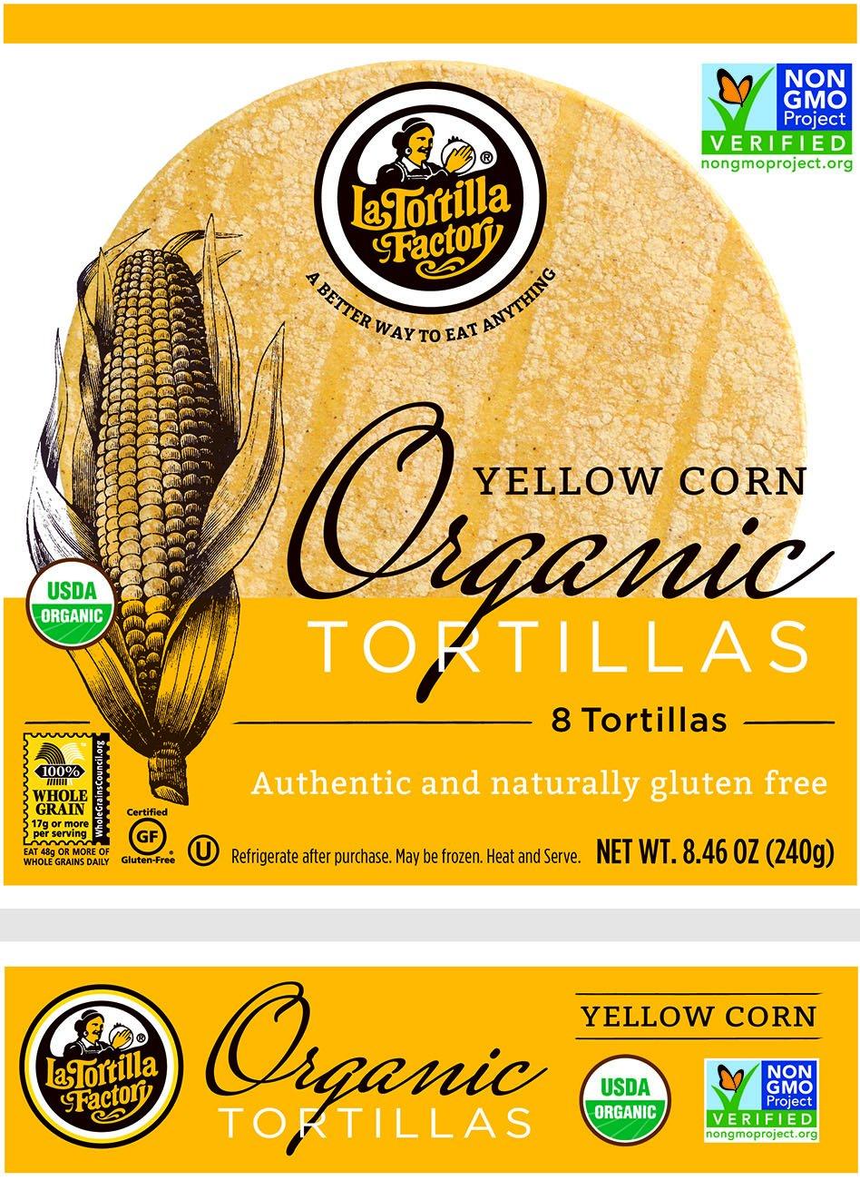 La Tortilla Factory Organic Yellow Corn Tortillas, 8.46 Ounce (Pack of 10)