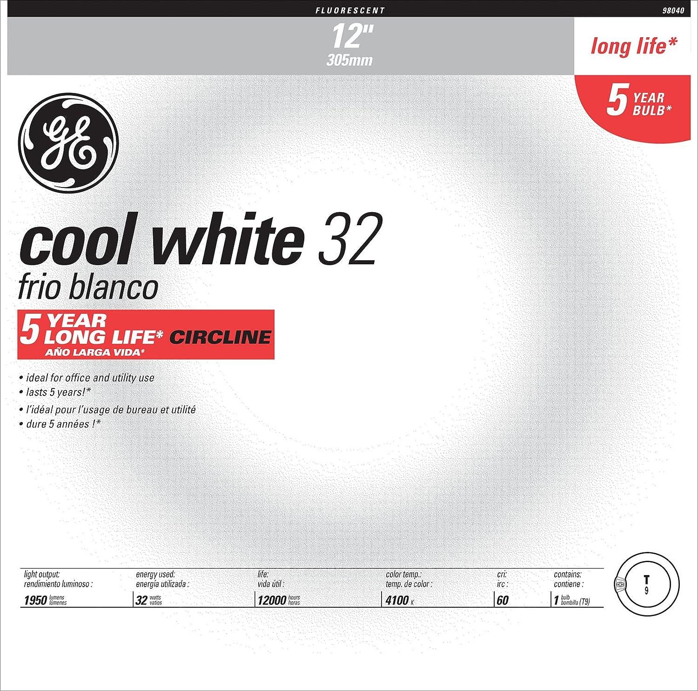 GE Lighting 33893 40-Watt 2700-Lumen T9 Circuline Fluorescent lamp, Cool White, 12-Pack - Compact Fluorescent Bulbs - Amazon.com