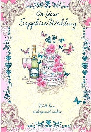 Auf Ihrem Saphir Hochzeit 45 Hochzeitstag Karte Amazon De