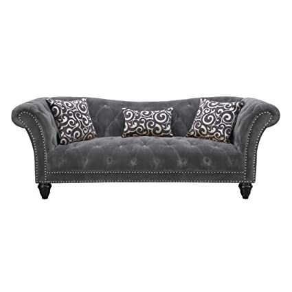 Exceptionnel Emerald Home Hutton II Thunder Bella Gray Sofa, With Pillows, Button  Tufting, Nailhead