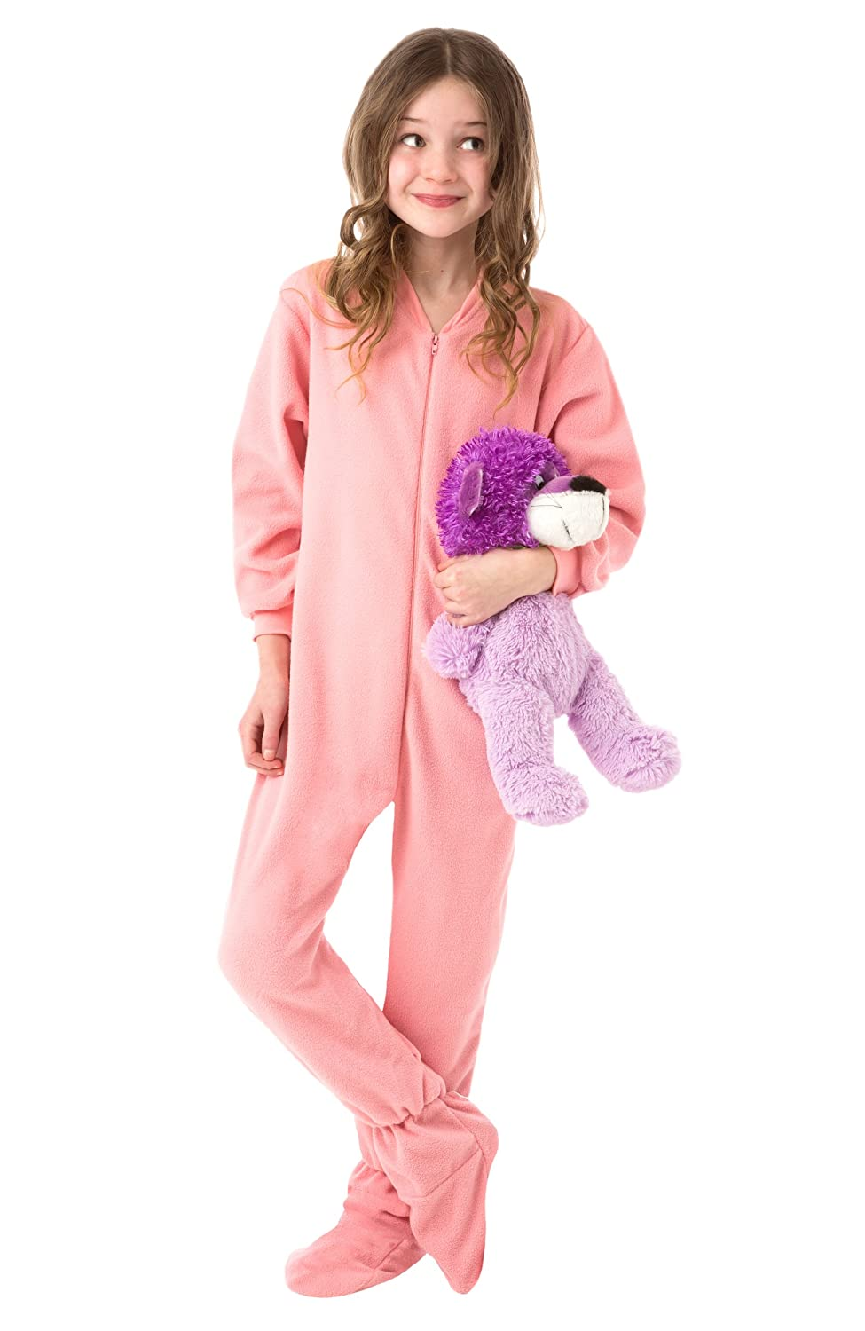 Amazon.com: Big Feet PJs Big Girls Kids Pink Fleece Footed Pajamas Onesie Footie Pajamas: Clothing