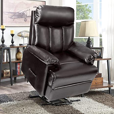 power lift chair Recliner Chairs -Reclining Sofa Chair Lift PU Leather  Living Room with Heavy Duty Mechanism & Remote