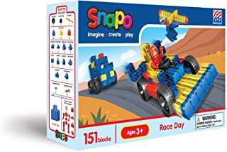 product image for Snapo Race Day Primary Colors 150+ Piece Boxed Interlocking Building Blocks Set