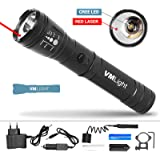 VMLight Tactical Rechargeable Flashlight with Laser for Weapons. Gun Sight Laser. Flashlight with Cree Led Police Battery 8800mAh Magazine for 3AAA Batteries Included Car Charger Mount for Weapons