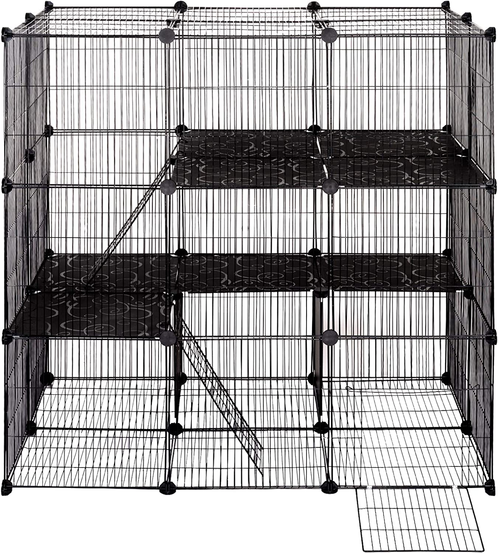 ELIGHTRY DIY Parque para Mascotas Jaula Perros Conejos Hámster Cobaya de Malla Metálica Valla para Animales Pequeños Ajustable Rejilla 109x74x109cm Negro XCWWL0004sz: Amazon.es: Productos para mascotas