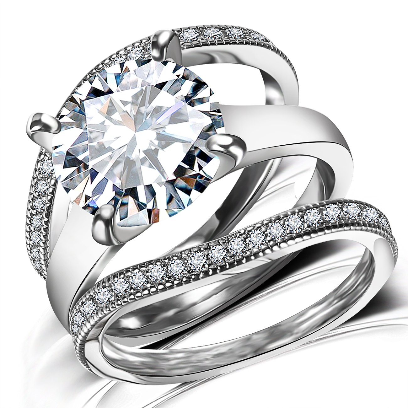 Platinum Plated Bridal Set - Round Cut Cubic Zirconia Rings Women Engagement Ring Set with Wedding Band by Hiyong (Image #3)