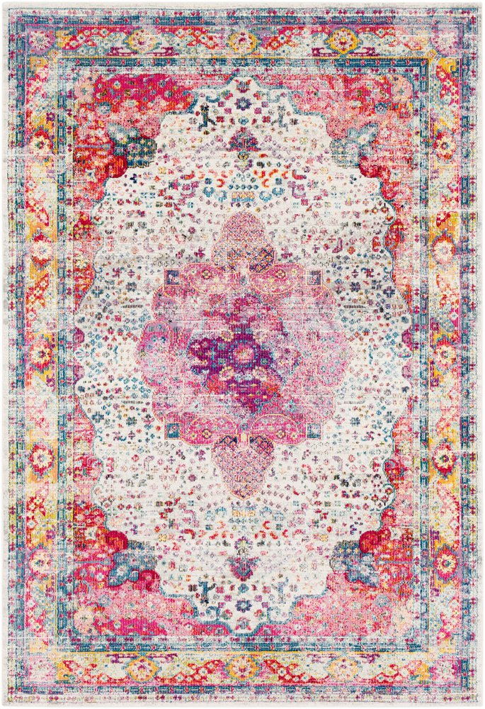 Vaswani Rose and Beige Updated Traditional Area Rug 2' x 3'