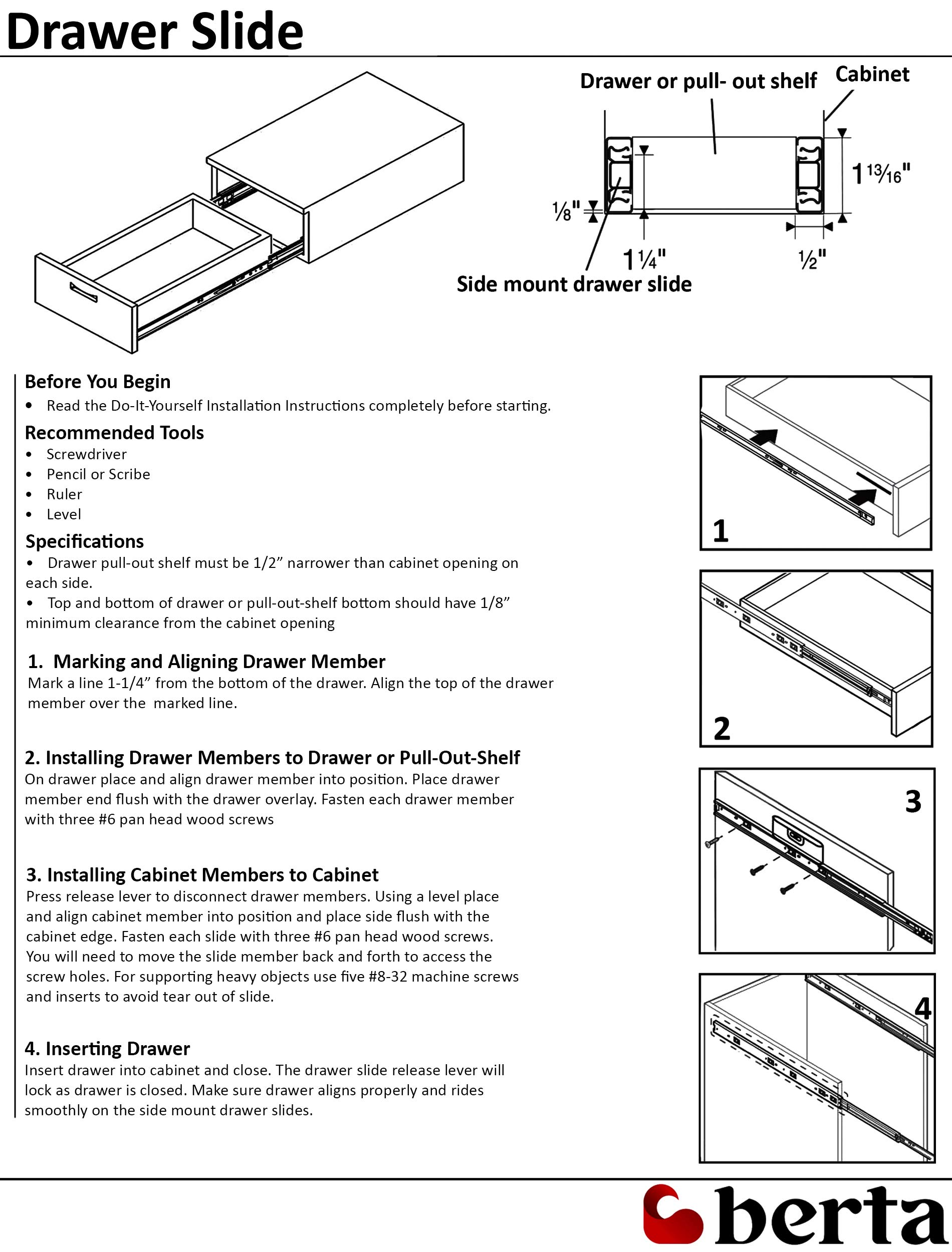 10 Pack Berta Full Extension Soft/Self Close Ball Bearing Side Mount Drawer Slides 16-Inch 100Lb Load Rating (10 Pairs) by Berta (Image #5)