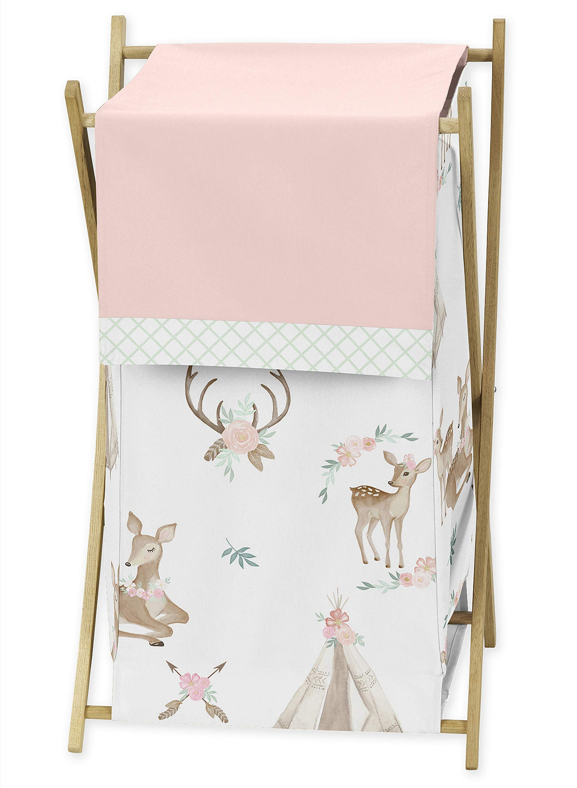 Sweet Jojo Designs Blush Pink, Mint Green and White Boho Baby Kid Clothes Laundry Hamper for Woodland Deer Floral Collection by Sweet Jojo Designs