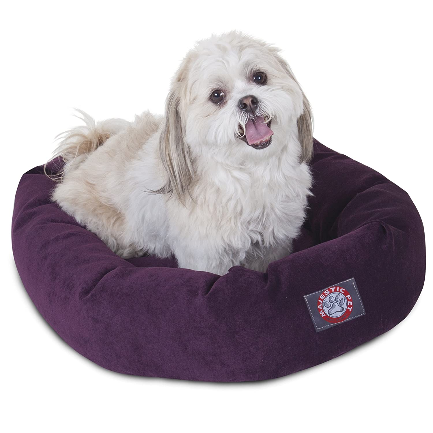 24 inch Aubergine Villa Collection Micro Velvet Bagel Dog Bed by Majestic Pet Products