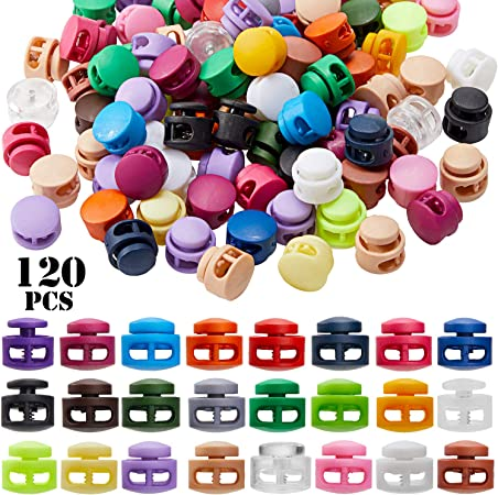 3 Colors 120 Pieces Plastic Cord Locks Single Hole Spring Toggle Stopper Slider Elastic Drawstring Rope Locks for Drawstring Backpack Shoelace DIY Craft Supplies
