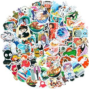 100Pcs Studio Ghibli Stickers Miyazaki Hayao Animation Film Theme Anime Stickers, Spirited Away No Face Man My Neighbor Totoro Waterproof Laptop Stickers for Teens, Skateboard Stickers Luggage Decal
