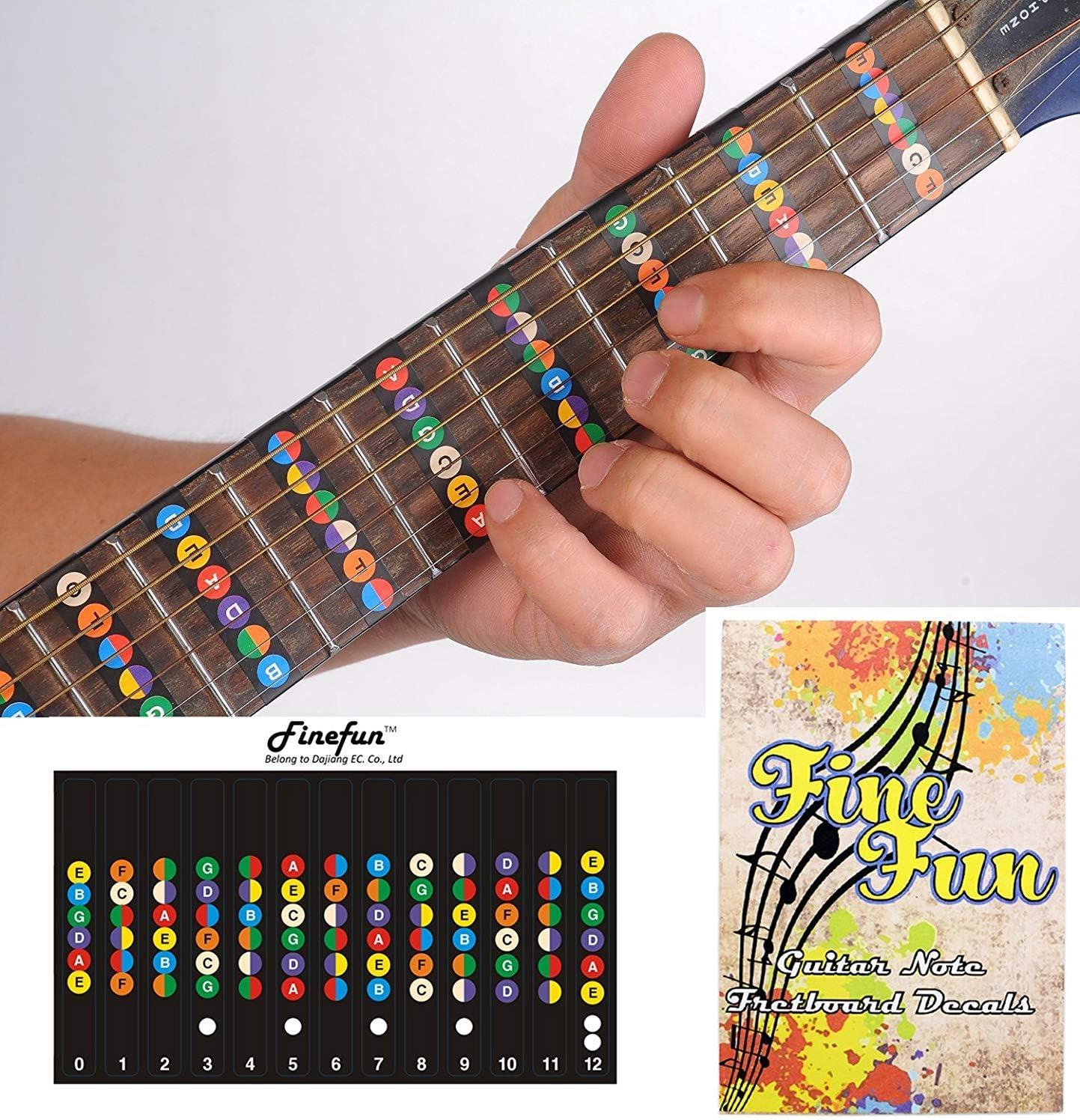 FineFun - Calcomanías de vinilo para diapasón de guitarra, diapasón, trastes, mapa para principiantes, prácticas, 6 cuerdas, guitarra acústica, eléctrica, impermeable y resistente al aceite, negro